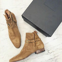 Hand Stitched Mens Classic Jodhpurs Tan Suede Ankle Boots, long boots