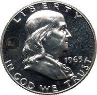 1963 Benjamin Franklin Silver Half Dollar United States Coin Liberty Bell i44904