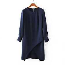 Women Lady Navy Tunic Front Open Shift Mini short Dress
