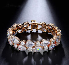 14k Rose Gold Bracelet made w/ Swarovski Crystal Stone Sparkling Bridal Jewelry