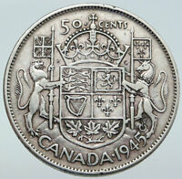 1945 CANADA WWII Time UK King GEORGE VI Coat-of-Arms SILVER 50 Cents Coin i86116