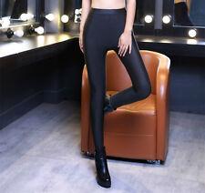 Women Shiny Winter Thick Warm Thermal Full Length Leggings Trousers Size 8 10 12 Black UK 8