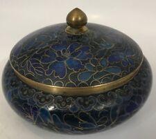 Vintage Zi Jin Cheng Small Cloisonne Enamel Blue Gold Floral Ginger Jar Handmade