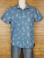 The Rail Blue Cactus Button Front Shirt Mens Size Medium M