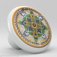 Round Talavera Design Ceramic Knobs Pulls Kitchen Drawer Cabinet Dresser 1198