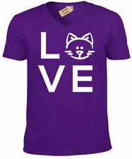 Love Gato Camiseta Gatito Animal para Hombre Cuello en V Camiseta