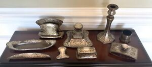 MIXED METALS~STERLING SILVER OVERLAY COPPER 9 Pc DESK SET ANTIQUE ARTS & CRAFTS