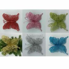 10Pcs PVC Christmas Tree Hollow Flower Butterfly Ornaments Xmas Home Decoration