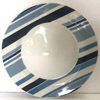 Pier 1 Marea Dinner Plate Blue & White Stripes Earthenware Made in Italy 10.5""