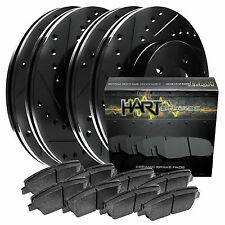Full Kit Black Hart Drilled Slotted Brake Rotors Disc and Ceramic Pads Mustang
