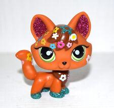 Littlest Pet Shop Animal Green Eyes Sparkle Flower Brown Fox Figure Child Toy