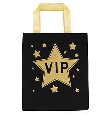 VIP Fabric Bag - Costume Accessory Fancy Dress Celebrity Movie Prop Black Gold