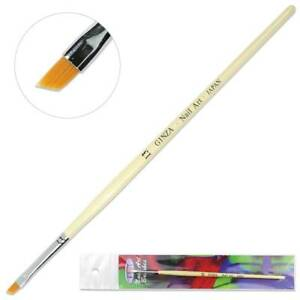Ginza Professional Acrylic Angular Nail Art Brush with White Wooden Handle