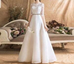 UK Organza White Ivory Half Sleeve A Line Simple Modest Wedding Dress Size 6-18