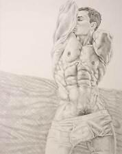 "9/"" x 12/"" drawing print nude male boxer in sweats gay art"