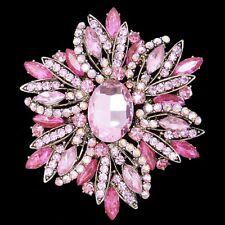 Brosche Anstecknadel Kristall Strass XXL Bouquet Blume rosa goldfarbe Nadel edel