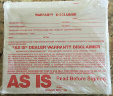 "Warranty Disclaimer Form, ""As Is"" Dealer Warranty Disclaimer Form, Dealer Forms"
