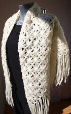 étole TRICOT CROCHET VINTAGE fait à la main épaule foulard mariage franges crème