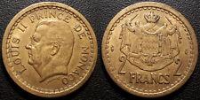Monaco - Louis II - 2 francs Bronze-aluminium 1945 - qualité ! KM#121a