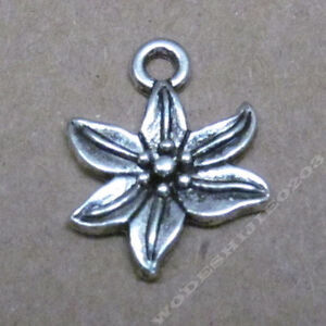 20pc Retro Tibetan Silver Lily Flower Pendant Charms Beads DIY Findings 222AF