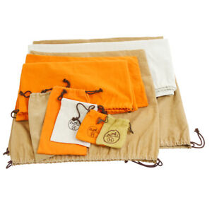 HERMES Dust Bag 10 Set Gray Brown Orange Handbag Accessories Authentic 80609