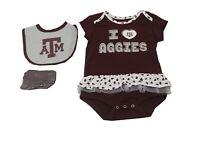 Texas A&M Aggies NCAA Baby Infant Girls Size 3 Piece Creeper Bib & Boots Set New