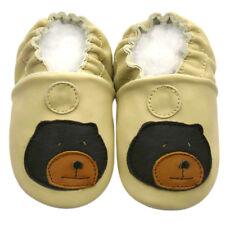 New Soft Sole Leather Baby Shoes Prewalk Kid Boy Infant Toddler Bear beige 0-6M