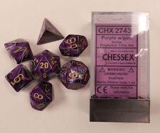Chessex Polyhedral 7 Die Vortex Purple w/ Gold Numbers Dice CHX 27437