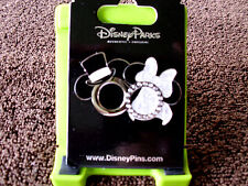 Disney * MICKEY & MINNIE - Top Hat Jeweled Ring & Wedding Veil * New Trading Pin