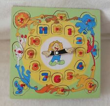 Lernuhr aus Holz - mit Puzzleteilen als Geduldsspiel - ab 4 Jahre
