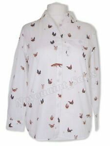 Joules Amilla Dropped Shoulder 100% Cotton Shirt Chalk Chickens Size UK 10 BNWT