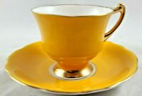 GLADSTONE MUSTARD YELLOW BONE CHINA CUP AND SAUCER GOLD TRIM MADE IN ENGLAND