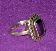 ART DECO 1930s STYLISH STERLING SILVER LARGE HEMATITE & MARCASITE RING ANTIQUE