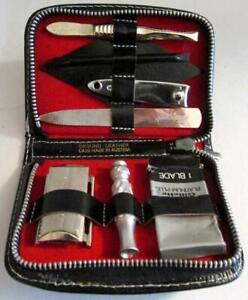 VINTAGE GILLETTE RAZOR IN SMALL LEATHER TRAVEL CASE WITH NAIL CLIP FILE =