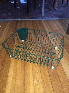 """Vintage Rubbermaid Dish Rack Green Drainer Drying Coated Wire, Large 17 x 14"""""""