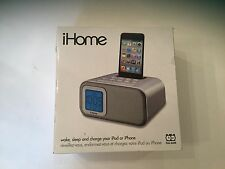 NEW iHome iH22 Silver Clock, iPhone & iPod Compatible Dock