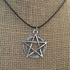 Pentagram Pendant Wicca Necklace Jewelry Silver Pagan Black Cord NEW
