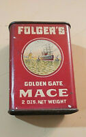 Antique Folger's Mace 2oz. Golden Gate Spice Tin Can Ship Graphics Pre-owned