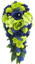17 piece Wedding Bouquet Silk Flower Package Bridal LIME GREEN NAVY BLUE SILVER