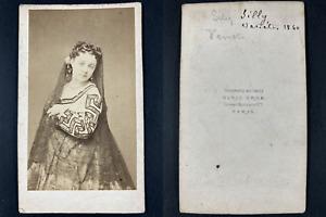 Grob, Paris, Mademoiselle Silly, comédienne au théâtre des Variétés 1860 Vintage
