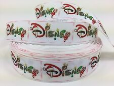 BTY 1 Inch Disney Christmas Word Grosgrain Ribbon Hair Bows Scrapbooking Lisa