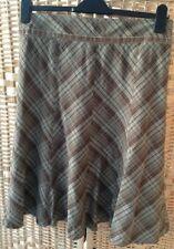Principles Size 12 Green Beige Black Grey Check Tartan Skirt Lined Side Zip