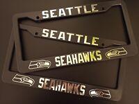 SET X 2 Seattle Seahawks Black Plastic License Plate Frame Truck Car Van