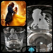 Personalised Disney Beauty & The Beast Whiskey Glass Handmade FREE Name Engraved