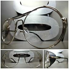 CLASSIC VINTAGE RETRO BLINDER Style Clear Lens EYE GLASSES Round Silver Frame