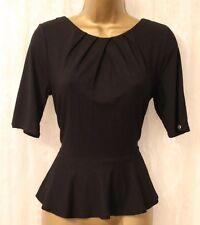 Karen Millen Peplum Jersey Fold Collar Black Drape Slinky Blouse Top 12 40