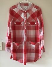 🧡 COUNTRY ROAD women's Red White Check Plaids Tunic Blouse Dress Sz Xs 8