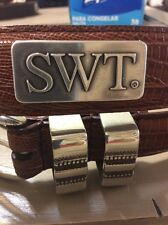 Men's Brown Leather Belt With Southwest Texas University SWT Concho 32 R
