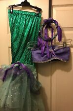 Child's Ariel Little Mermaid Two Piece Costume Xx 7/8 With Headpiece