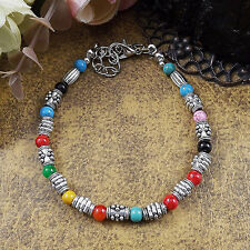 Hot Fashion Tibetan Silver Jewelry Beads Bangle Turquoise Chain Bracelets S41